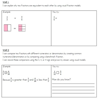 Grade 4 - Common Core - I can statements - Math