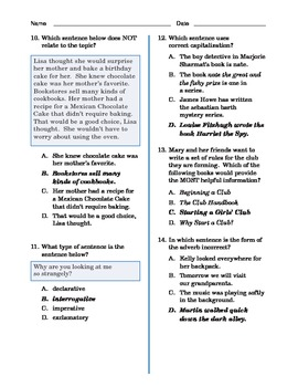 Grade 4 Common Core Language and Writing Practice #1