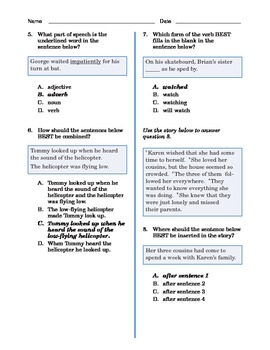 Grade 4 Common Core Language and Writing Practice #2