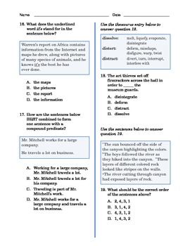Grade 4 Common Core Language and Writing Practice #5