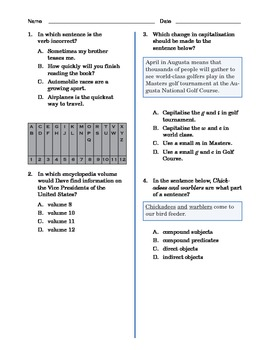 Grade 4 Common Core Language and Writing Practice #7