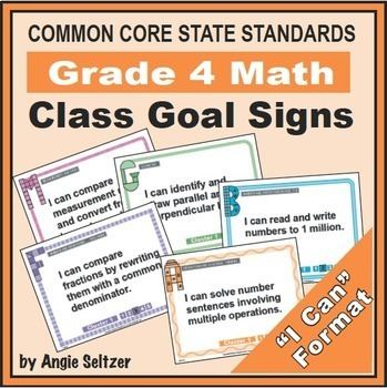 Grade 4 Common Core Math Communication Bundle (Posters, Goal Signs, Checklists)