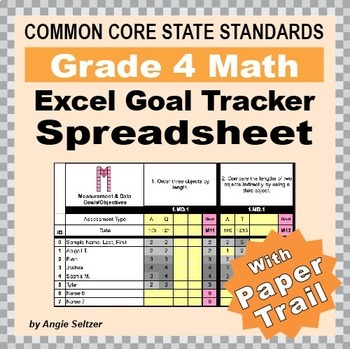 Grade 4 Common Core Math EXCEL Goal Tracker Spreadsheet wi