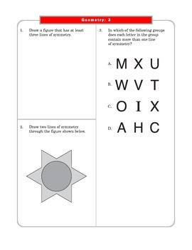 Grade 4 Common Core Math: Geometry 4.G.A.3 Worksheets #1-3
