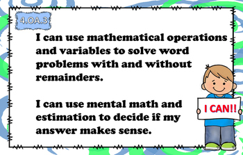 Grade 4 Common Core Math Standards I Can Statement Posters!