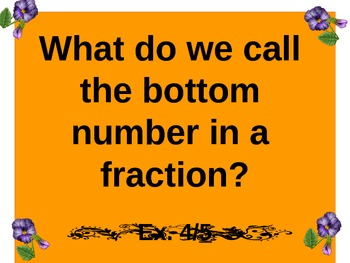 Grade 4 Common Core Math  Fraction Vocabulary Play
