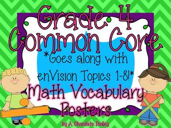 Grade 4 Common Core Math Vocabulary Posters {Topics 1 - 8}