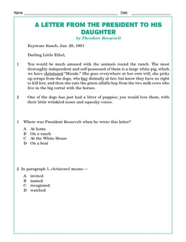 Grade 4 Common Core Reading: A Letter from the President to his Daughter