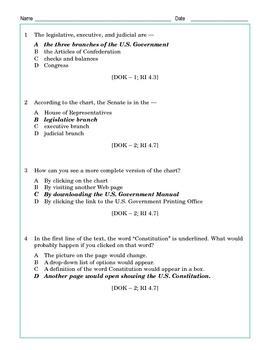 Grade 4 Common Core Reading: Branches of Government