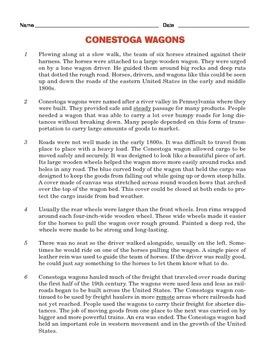 Grade 4 Common Core Reading: Conestoga Wagons