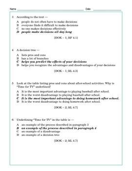 Grade 4 Common Core Reading: Decisions, Decisions