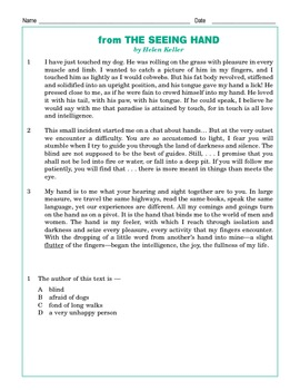 Grade 4 Common Core Reading: Excerpt from The Seeing Hand