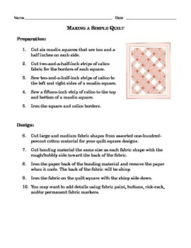 Grade 4 Common Core Reading: History of Quilting and How to Make a Quilt