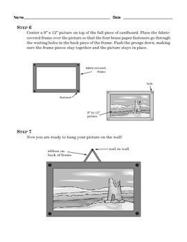 Grade 4 Common Core Reading: How to Make a Cardboard Picture Frame