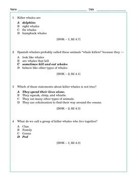 Grade 4 Common Core Reading: Killer Whale