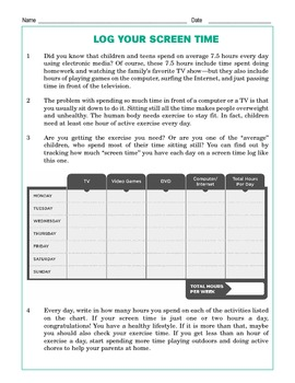 Grade 4 Common Core Reading: Log Your Screen Time