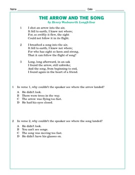 "Grade 4 Common Core Reading: Longfellow's ""The Arrow and the Song"""