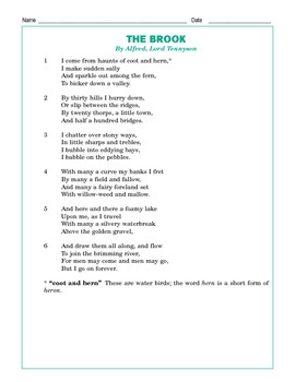 "Grade 4 Common Core Reading: Lord Alfred Tennyson's ""The Brook"""