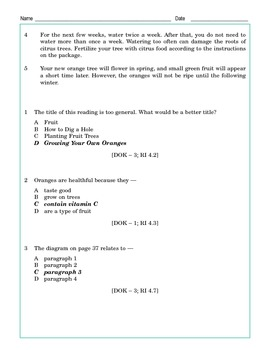 Grade 4 Common Core Reading: Oranges