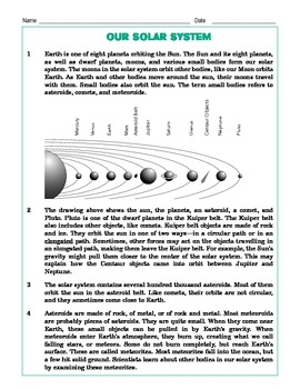Grade 4 Common Core Reading: Our Solar System