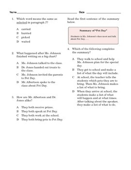 Grade 4 Common Core Reading: Pet Day
