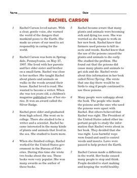 Grade 4 Common Core Reading: Rachel Carson