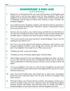 Grade 4 Common Core Reading: Shakespeare's King Lear