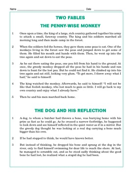 Grade 4 Common Core Reading: Two Fables - Pennywise Monkey & Dog's Reflection