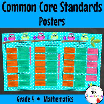 Grade 4 Common Core Standards Posters {Mathematics} Owl Theme