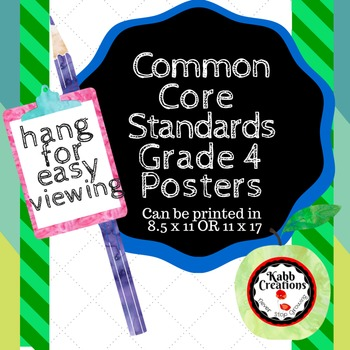 Grade 4 Common Core Standards I CAN Posters! READING & WRITING!