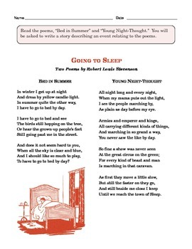Grade 4 Common Core Writing Prompt:  Two Poems by Robert Louis Stevenson