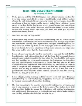 Grade 4 Common Core Reading: from The Velveteen Rabbit