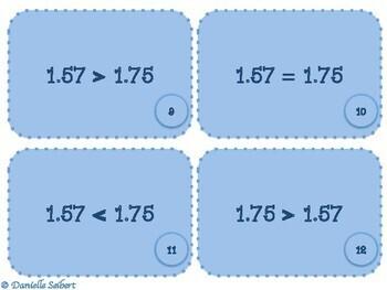 Grade 4-Compare Decimals to Hundredths-True or False Card Sort