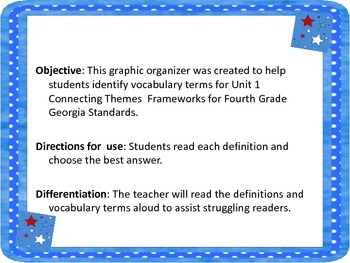 Grade 4 Connecting Themes Vocabulary Worksheet