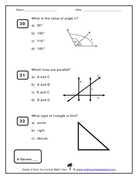 Grade 4 Core Curriculum Math Test - Multiple Choice Format