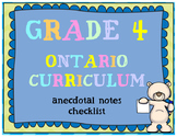 Grade 4 Curriculum Checklist - Anecdotal Notes Organizer (
