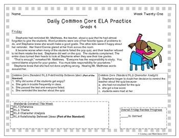 Grade 4 Daily Common Core Reading Practice Week 21 {LMI}