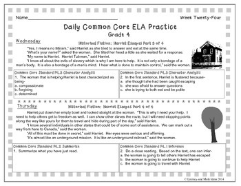 Grade 4 Daily Common Core Reading Practice Week 24