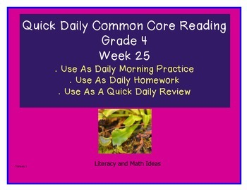 Grade 4 Daily Common Core Reading Practice Week 25