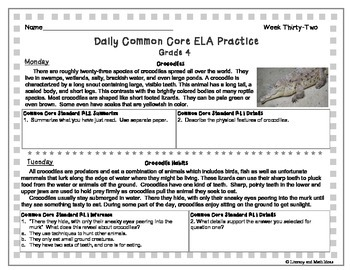 Grade 4 Daily Common Core Reading Practice Week 32