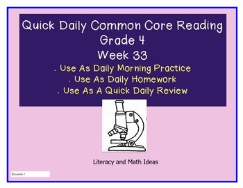 Grade 4 Daily Common Core Reading Practice Week 33