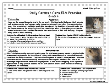 Grade 4 Daily Common Core Reading Practice Week 34