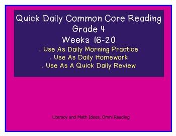 Grade 4 Daily Common Core Reading Practice Weeks 16-20 {LMI}