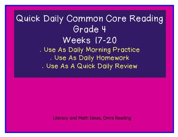 Grade 4 Daily Common Core Reading Practice Weeks 17-20 {LMI}