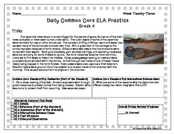 Grade 4 Daily Common Core Reading Practice Weeks 21-25 (LMI)