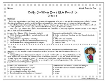 Grade 4 Daily Common Core Reading Practice Weeks 21-25 (LMI)