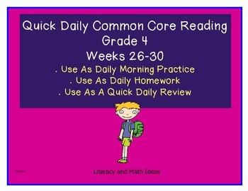 Grade 4 Daily Common Core Reading Practice Weeks 26-30 {LMI}