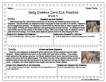 Grade 4 Daily Common Core Reading Practice Weeks 26-30 {LMI}