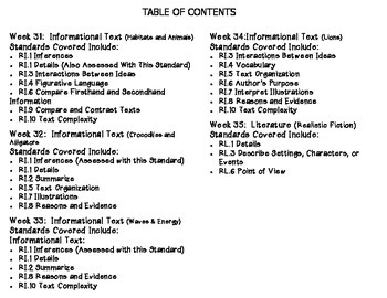 Grade 4 Daily Common Core Reading Practice Weeks 31-35 {LMI}