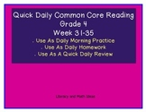 Grade 4 Daily Common Core Reading Practice Weeks 31-35 {LMI}